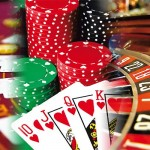 Art of Casino Games Including Slots, Poker Chips, Cards, and Money on the Table.